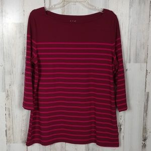 A New Day 3/4 Sleeve Boat Neck T-Shirt Striped